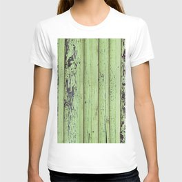 Rustic mint green grunge wood panels T-shirt