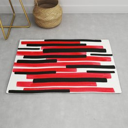 Red Primitive Stripes Mid Century Modern Minimalist Watercolor Gouache Painting Colorful Stripes Wat Rug