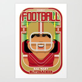 American Football Red and Gold - Hail-Mary Blitzsacker - Indie version Art Print