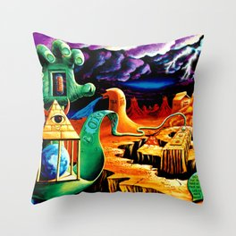 Trippy Psychedeic Surreal Art by VIncent Monao - The Practical Deception Throw Pillow
