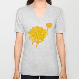 Chysanthemum in Saffron Unisex V-Neck