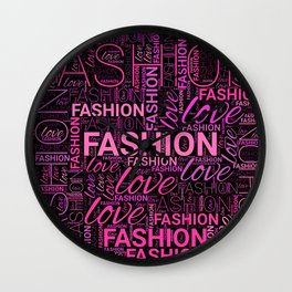 Fashion Word Art in Pink and Purple on Black Wall Clock