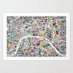 A map of Paris Art Print