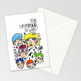 Pop girl Stationery Cards