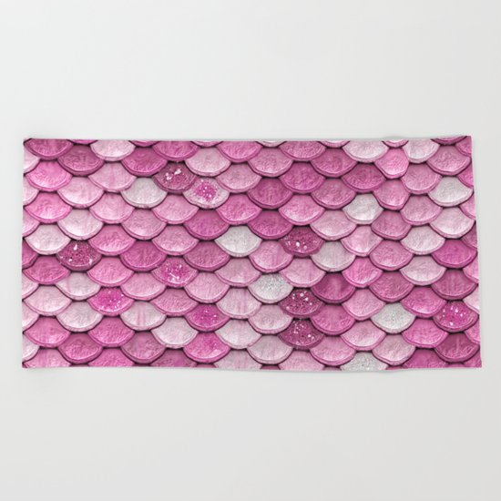 Light Pink Glitter mermaid sparkling scales - Mermaidscales Beach Towel