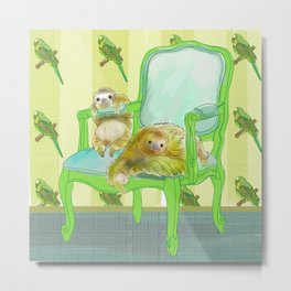 animals in chairs #6 The Sloth Metal Print