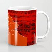 beethoven Mugs featuring Ludwig van Beethoven · red10 by Marko Köppe