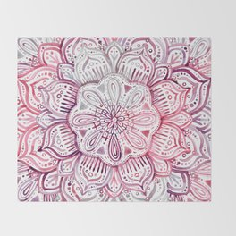 Burgundy Blush Watercolor Mandala Throw Blanket