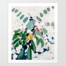 Eucalyptus Bouquet in Green and White Art Print