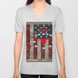 Grungy Old Looking Texas  Pride Longhorn Americana Unisex V-Neck