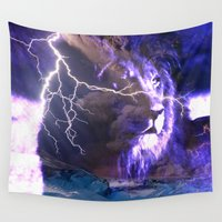 lightning Wall Tapestries featuring lion lightning  by yahtz designs