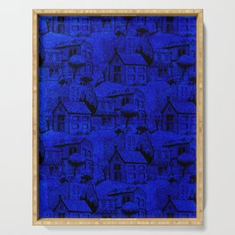 V25 Blue Architecture Design Traditional Moroccan Rug Background. Serving Tray