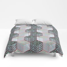 Cubes and silver chevron Comforters
