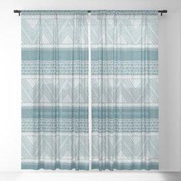 Dutch Wax Tribal Print in Teal Sheer Curtain