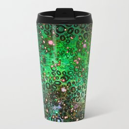 RAINBOW DOTTY OCEAN 3 Green Lime Ombre Space Galaxy Colorful Polka Dot Bubbles Abstract Painting Art Travel Mug