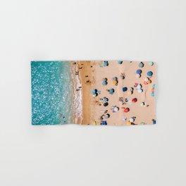 People On Algarve Beach In Portugal, Drone Photography, Aerial Photo, Ocean Wall Art Print Hand & Bath Towel