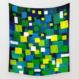 "Original Abstract Acrylic Painting by  ""City Lights"" Colorful Geometric Square Pattern Gre Wall Tapestry"