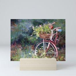 Red Bicycle Between the Weeds Mini Art Print