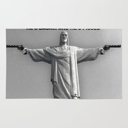 Redemption Text Black And White Rug