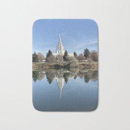 Idaho Falls Temple - Reflection In The River Bath Mat