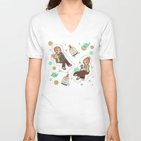 bioshock infinite V-neck T-shirts featuring Bioshock Infinite - Luctece Twins by Choco-Minto