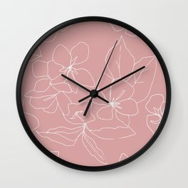 Floral Drawing on Pale Pink Wall Clock