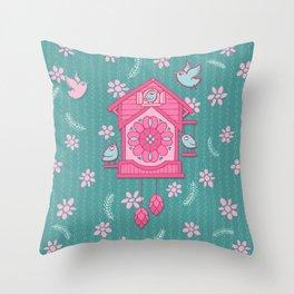 Cuckoo Time pink Throw Pillow
