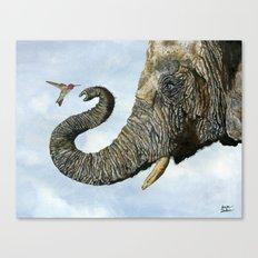 Elephant Cyril And Hummingbird Ayre Canvas Print