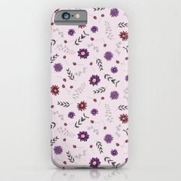 Botanical lilac purple gray pink watercolor hand painted floral iPhone Case