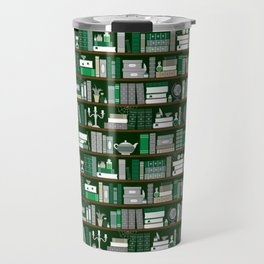 Book Case Pattern - Green and Grey Travel Mug