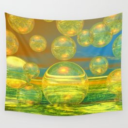 Golden Days, Abstract Yellow and Azure Tranquility Wall Tapestry
