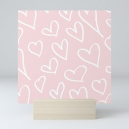 Pink & White-Love Heart Pattern-Mix & Match with Simplicty of life Mini Art Print