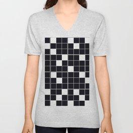 CHECKERBOARD BLACK AND WHITE Pattern Unisex V-Neck