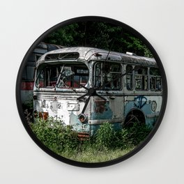 Abandoned Bus Broken and Abused Rusty Car Wall Clock