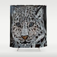 snow leopard Shower Curtains featuring Snow Leopard by ira gora