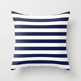 Nautical Navy Blue and White Stripes Throw Pillow