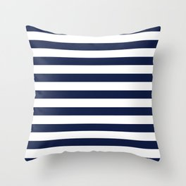 Nautical Navy Blue and White Stripes Throw Pillow