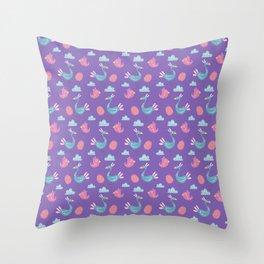 Modern green pink violet hand drawn birds pattern Throw Pillow