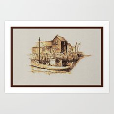 Moored at the Fish House Art Print