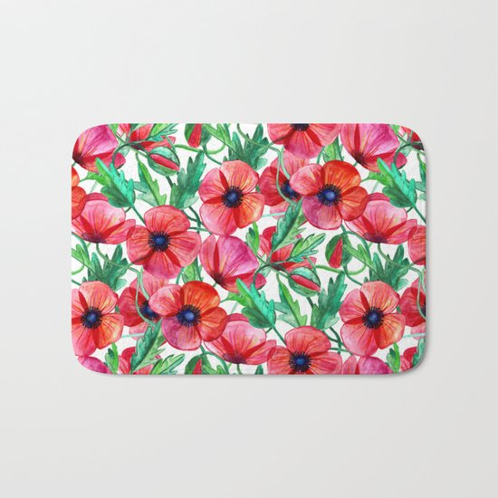 Plenty of Poppies - white Bath Mat