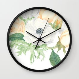 David Austin Roses and Anemones Wall Clock