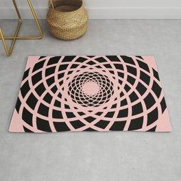 Circle rectangles round pattern Design coral Rug