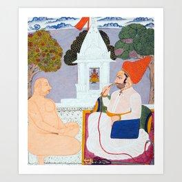 Baba Atmaram - holy man at a Vishnu Shrine - Vintage Indian print Art Print