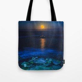 La Luna - Yellow Moon over still ocean blue waves color photography / photographs by Jose Navarro Tote Bag
