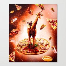Outer Space Pug Riding Giraffe Unicorn - Pizza Canvas Print