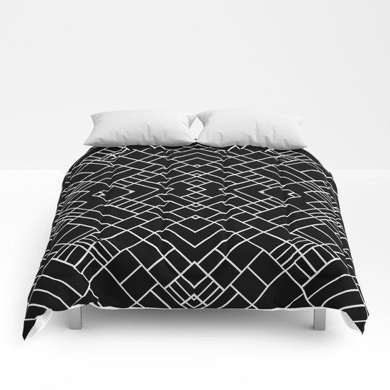 PS Grid 45 Black Comforters
