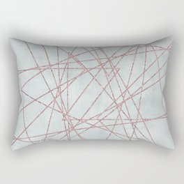 Rose Gold Glitter Line Art On Teal Rectangular Pillow