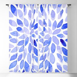 Watercolor brush strokes - blue Blackout Curtain