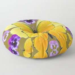 SPRING PURPLE PANSY FLOWERS & YELLOW BUTTERFLIES GARDEN Floor Pillow