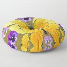 SPRING PURPLE PANSY FLOWERS & YELLOW BUTTERFLIES GARDEN Floor Pillow